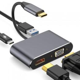 品名: TYPE-C轉HDMI VGA USB3.0 PD3.0四合一(顏色隨機) J-14572