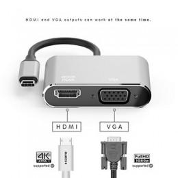 品名: USB3.1 Type-C視頻線,USB3.1 Type-c To HDMI母+VGA母頻轉接線(顏色隨機) J-14627 全新 G-4176