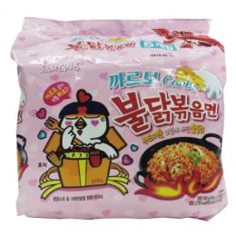 火辣雞肉風味鐵板拉麵(奶油白醬風味)까르보불닭볶음면130g/5包 全新 G-6554