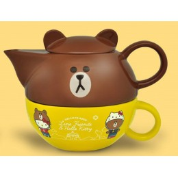 7-11 Hello Kitty x LINE 共度美好食光下午茶杯壺組(熊大款) 全新 G-6790